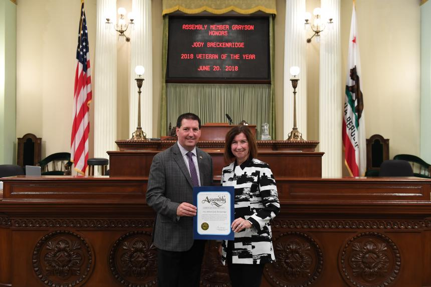 Assemblymember Grayson presents Assembly Resolution to Vice Admiral Breckenridge