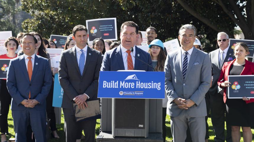 Assemblymember Grayson leads press conference announcing bills to spur housing production