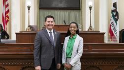 Assemblymember Grayson welcomes Domonique Jones on the Assembly Floor